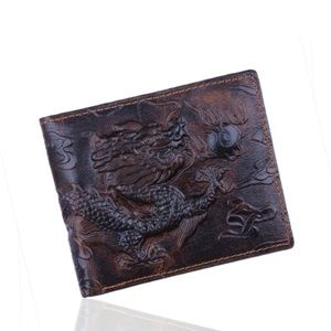 Other - Dragon Engraved Genuine Leather Bifold Mens Wallet